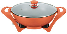 Round special color sub-red electric skillet and hot pot and electric frying pan