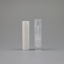 free samples empty 5g Cylindrical white / clear plastic lip balm container / Lip stick tube