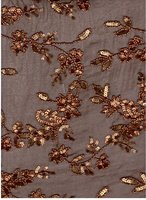 chiffon silk fabric embroideried with sequence /rice beads