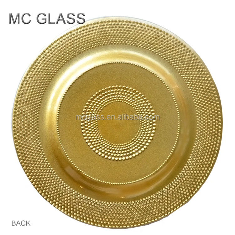 wholesale plates cheap wedding decoration gold glass charger plate