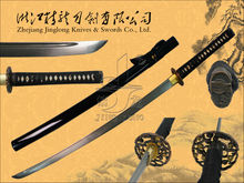 Handmade traditional samurai katana sword with damascus steel blade and casting zinc alloy tsuba JL921