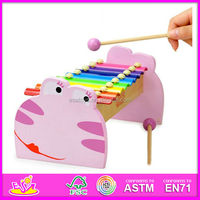 2015 New kids xylophone,popular kids xylophone and hot sale 8 Timbre The frog shape, hand knock wooden kids xylophones W07C003
