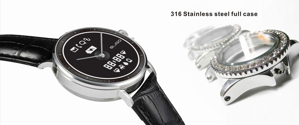 water resistant 316L stainless steel smart watch with E ink display