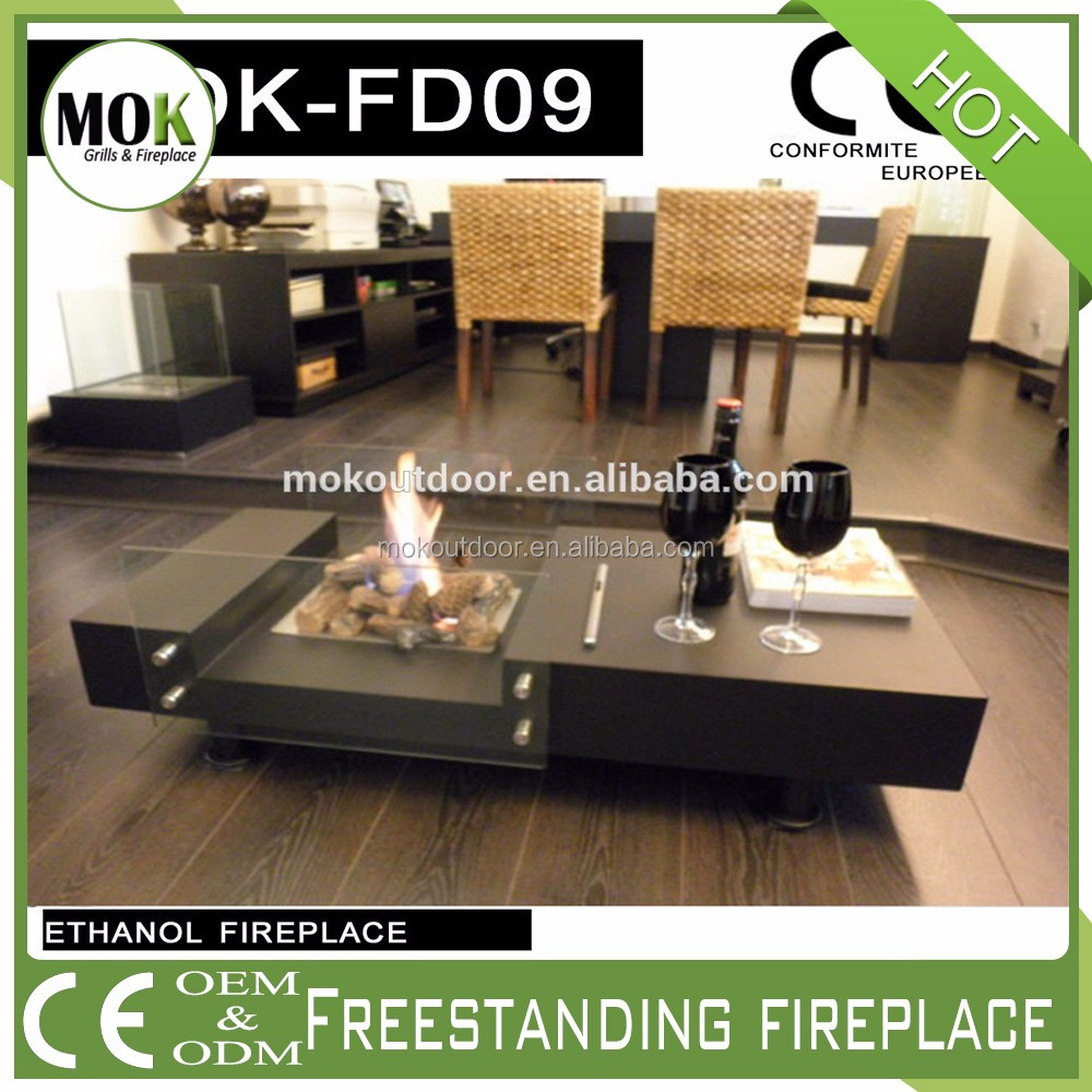 Coffee table style free standing bio ethanol fireplace