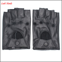 2016 ladies black driving motorcycle leather fingerless gloves
