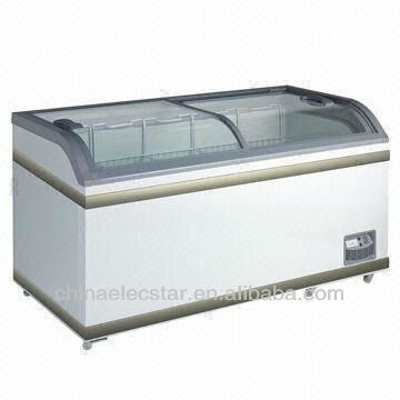 heavy duty curved glass door freezer with ETL and decal