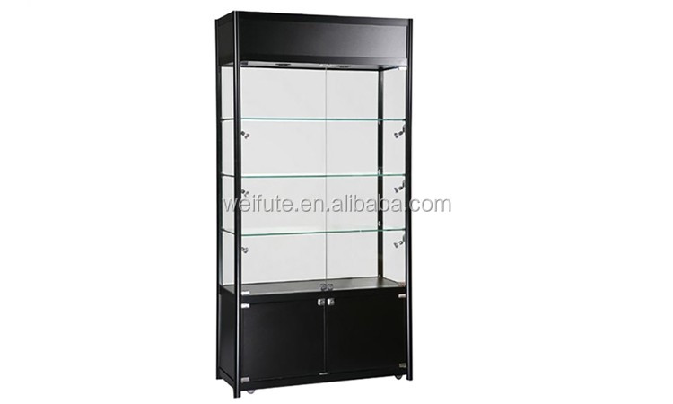 Deluxe frameless glass showcase with tempered glass shelves and MDF laminated storage