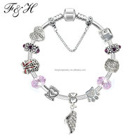 European Bracelet Wholeasle Murano Glass Bead and 925 Silver Plated Charms fit Snake Chain Bracelet