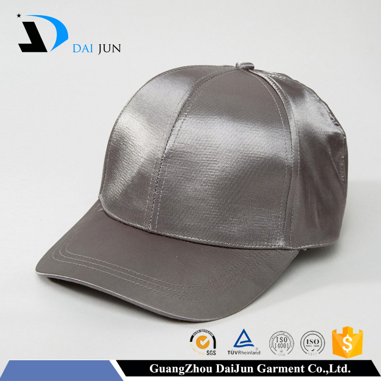 Daijun OEM high quality 6 panel silver satin plain women baseball sun hat