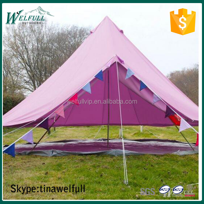 Large Single Wall 6m Family Camping Bell Canvas Tent for Outdoor