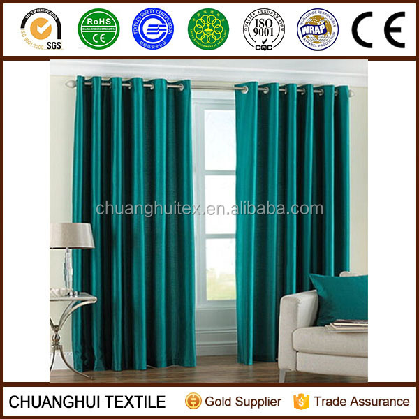 "PAIR Of Teal Blue / Green Eyelet Taffeta/Faux Silk Curtains 55"" Wide x 90"" Drop"