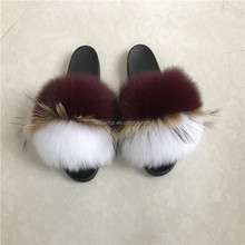 Wholesale Fashionable Lady fox fur Slide Slippers /Sandals