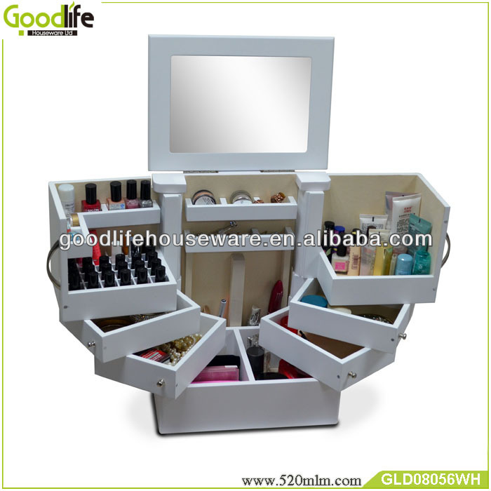 bedroom wooden makeup cabinet with mirror