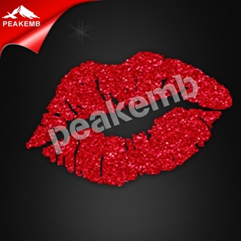 Sexy lip crystal glitter custom bling t-shirt transfers wholesale