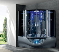grey acrylic shower with steam with spa bathtub w/MP3/TV 2person steam shower cabin