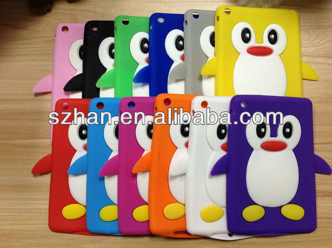 New 3D Cute Penguin Soft Silicone Case Cover For Ipad mini