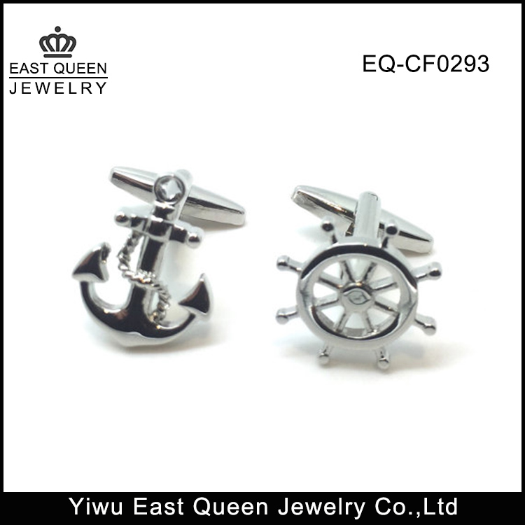 Personalized Stainless Steel Anchor And Wheel Cufflinks