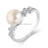 Wedding white pearl sterling silver ring