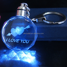 Hot sale wedding favours personalized logo 3d led crystal glass keychains