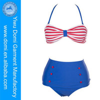 Blue and red striped retro high waist bikini japanese sex photos swimsuit / sex photo com