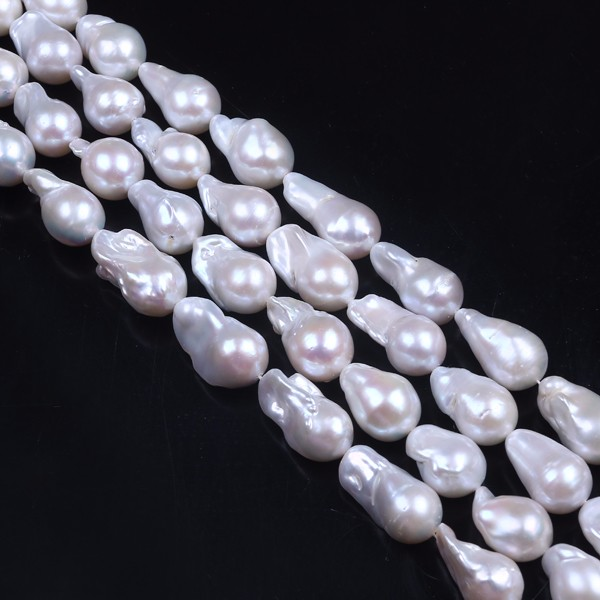 13 to 16mm Pear shape Irregular Nucleated Loose Large Baroque Pearl Strand