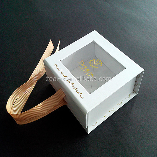 Custom Personalized Logo Gift Jewelry Window Boxes Packing, Rigid Gift Box With Ribbon For Jewelry Packing