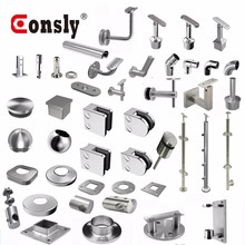 Stainless steel railing accessories balustrade handrail glass railing hardware fittings for balcony / deck /stair parts
