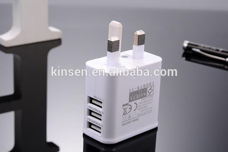 High speed UK plug 5v 3A / 2A usb travel charger for iPhone Galaxy