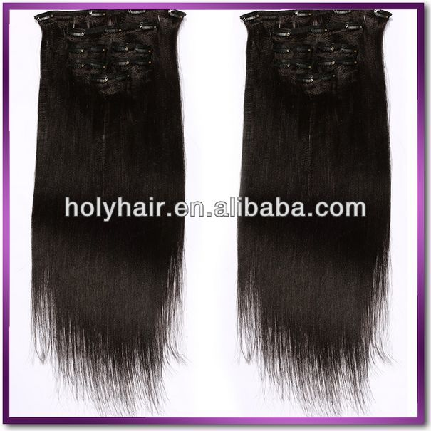 Alibaba 7A8A top grade brazilian clip hair extension russian african american clip in hair extensions