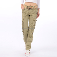 women spandex cotton khaki cargo pants with a lot of pockets
