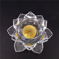 China made lotus flower shape clear glass tea light candle holder, decorative votive candle holder