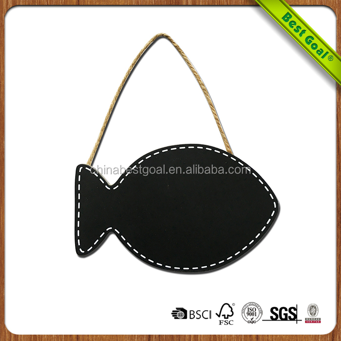 Handmade fish-shaped black ant line hanging small blackboard
