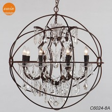 American vintage 8-lights Foucaut's ORB clear crystal chandelier ,retro rustic iron pendant lamp with UL/CE C6024-8A