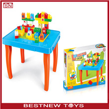 Multifunctional kids portable learning desk with building blocks toys