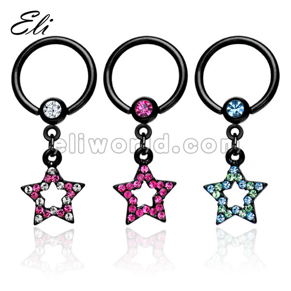 316L Surgical Stainless Steel Captive CBR Bead Ring with Crystal Star