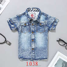 2017 summer cute baby boy clothing blue jeans turtleneck fashion t shirt