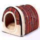 High quality luxury cage cave felt little indoor double canopy covered soft elevated cat dog nest bed collapsible pet house
