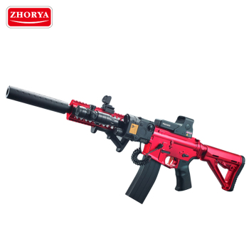 Zhorya kid new upgrade red battery powerful assemble plastic M4 soft gel crystal ball water bullet toy gun