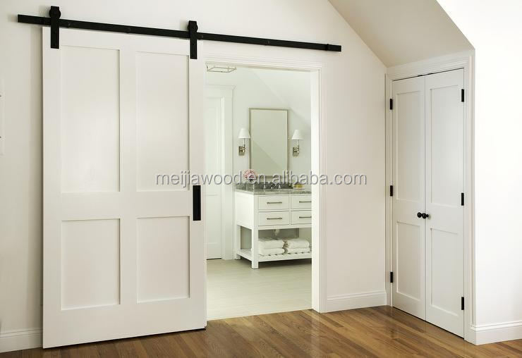 American style modern designs white interior sliding wooden door with heavy duty sliding barn door flat track hardware