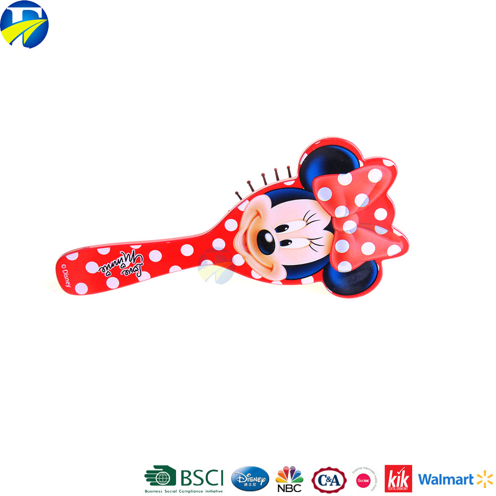 FJ brand new style minnie red plastic comb beauty custom professional kids oem hair brushes