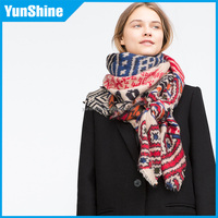 2016 Wholesale On Line Samll Moq Fashion geometric figure Nations wind Shawl Accessory Women Winter Warm Big Scarf
