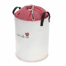 Home portable round canvas drawstring laundry hamper