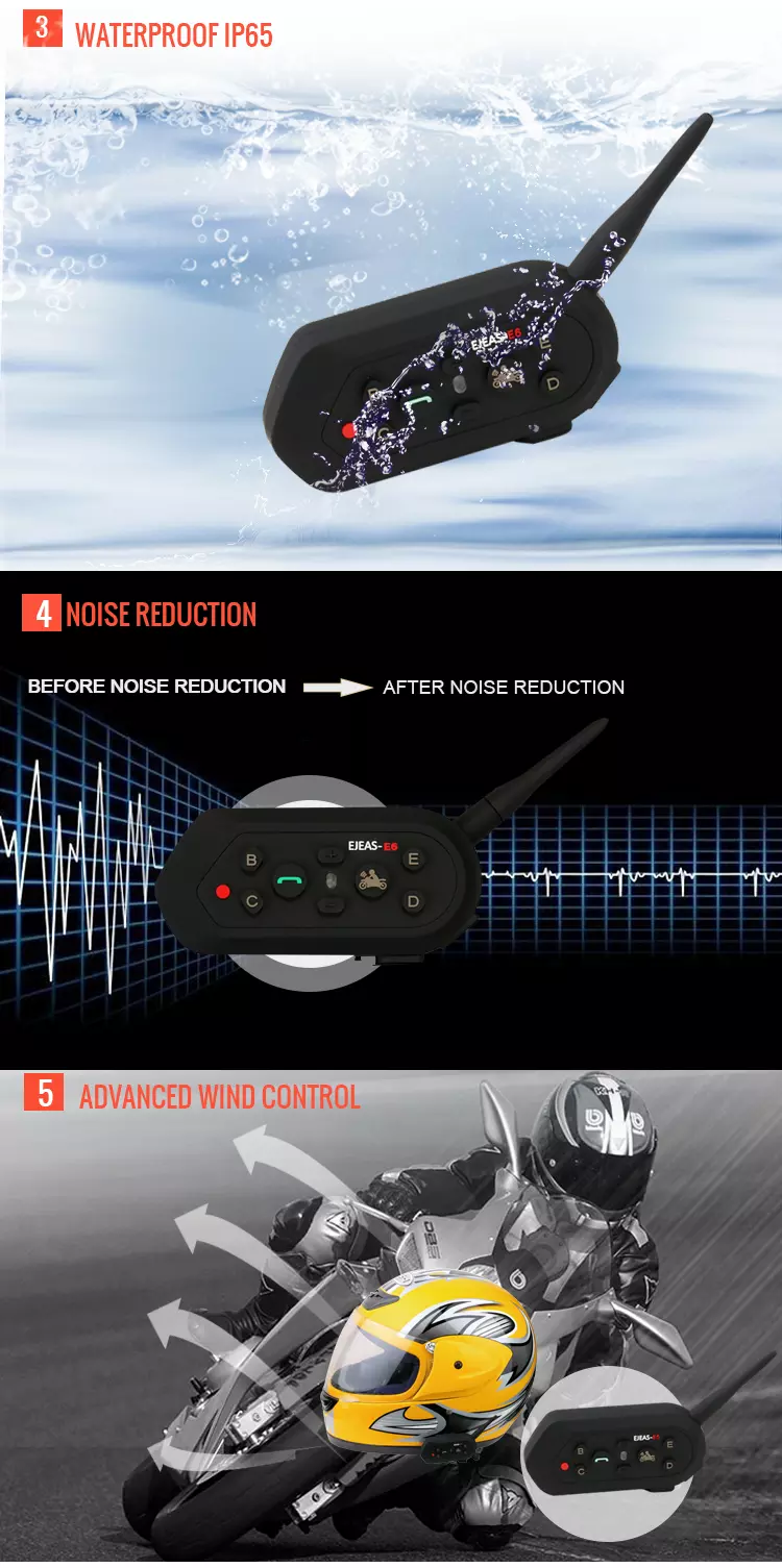 1200M Motorcycle Bluetooth Intercom headset with remoute