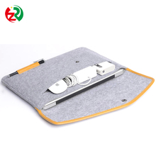 Eco friendly high quality laptop protective case handmade cheap felt tablet sleeve with leather pen holder