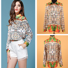 Fashion Shirt 2015 New Arrival Brand European Style Blue Floral Long Sleeve Woman Silk Blouse