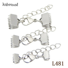 factory direct Stainless Steel Ribbon Crimps Cord End Caps With Lobster Claw Clasp And Extended Chain Jewelry Accessories