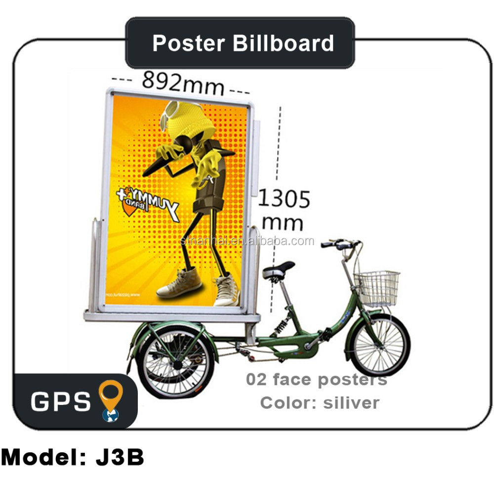 STNANHAI J3B-0001 Wholesale street pole mobile advertising board billboard trailer, outdoor backlit advertising display tricycle