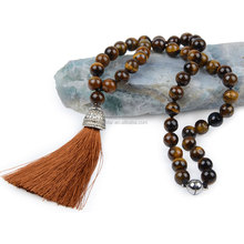 Chanfar Bohemian Long Tassel Necklace Pendant Statement 8mm Beaded Tiger Eye Turquoise Agate Natural Stone Necklace for Women