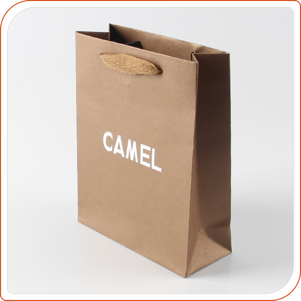 shopping gift bakery cheap small flat handle kraft paper bag with logo print