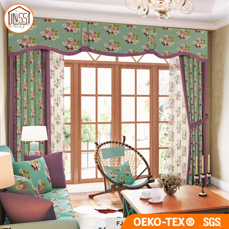 New Simple Matching Design Printing and Plain Cotton Linen Curtain